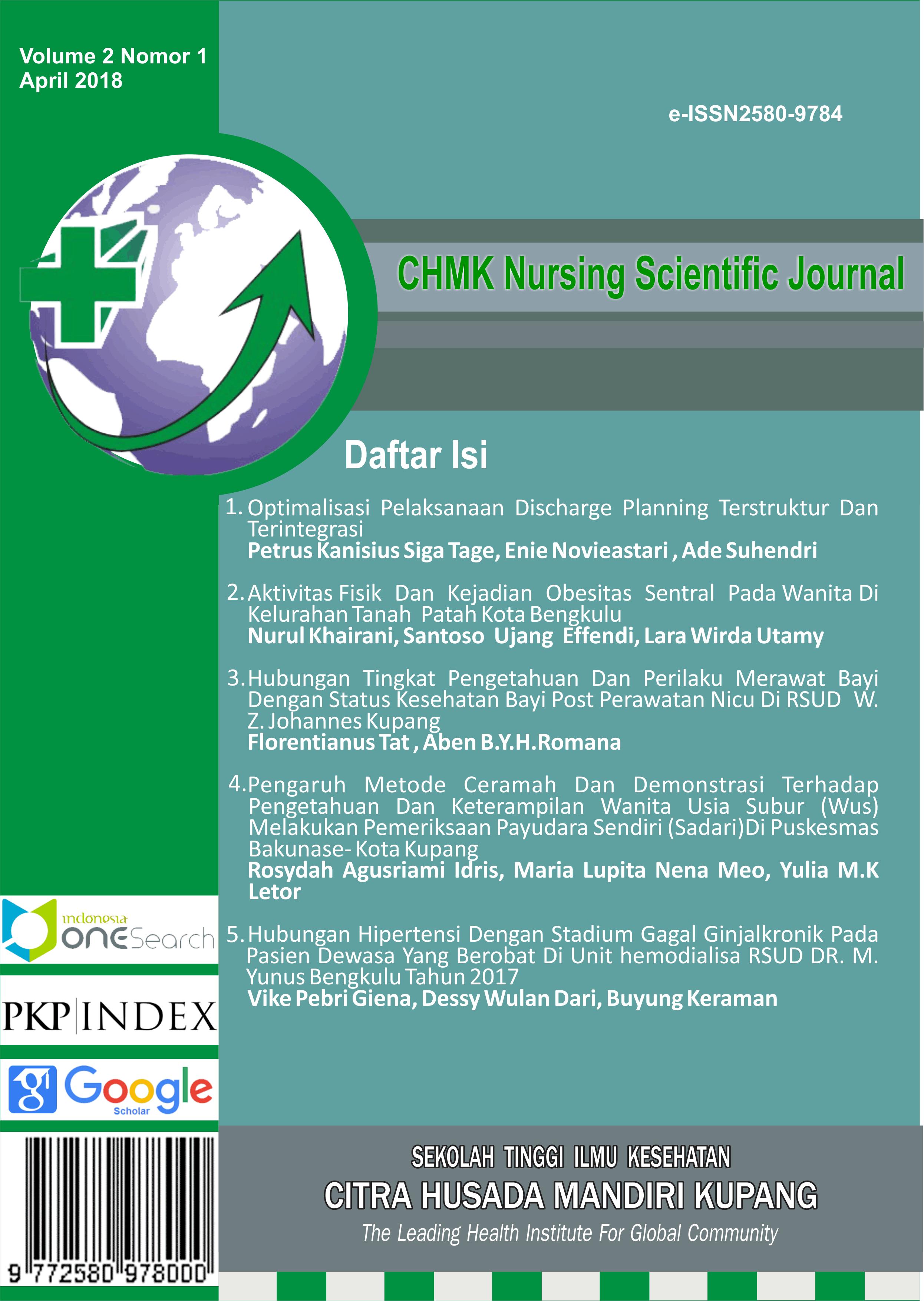 Aktivitas Fisik Dan Kejadian Obesitas Sentral Pada Wanita Di Kelurahan Tanah Patahkota Bengkulu Chmk Nursing Scientific Journal